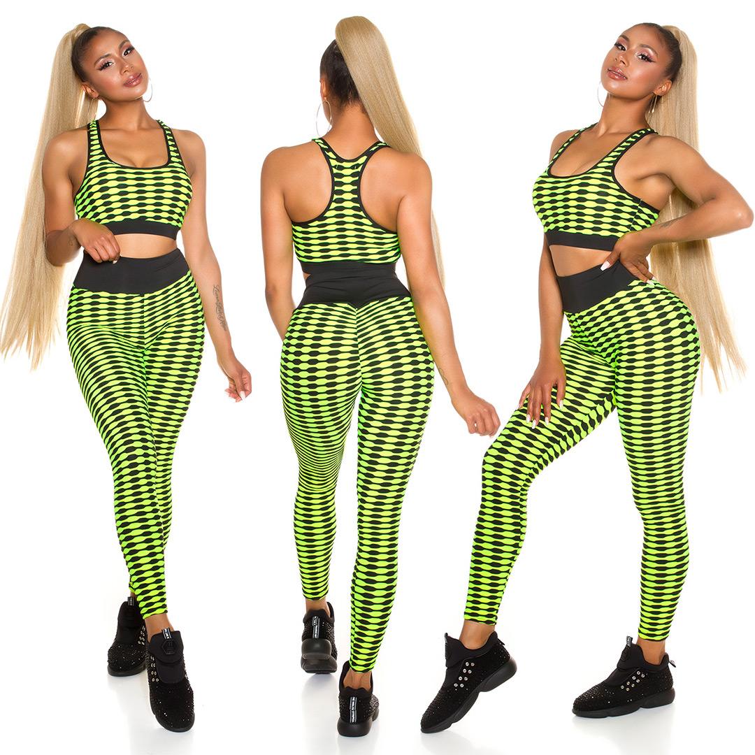 SEXY SPORTY SET- CROP TOP+PUSH-UP LEGGINGS von IN Stylefashion  in NeonGelb