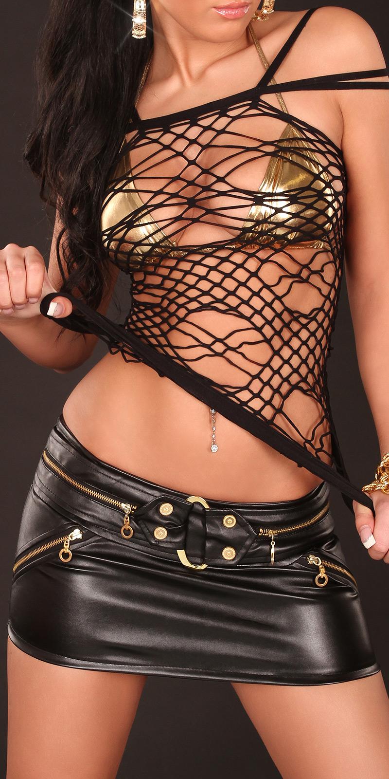 Sexy Net-Top im Spider-Look von INstylefashion in Schwarz