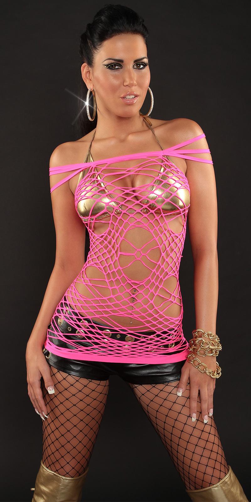 Sexy Netz-Top im Spider-Look von INstylefashion in Hot Pink