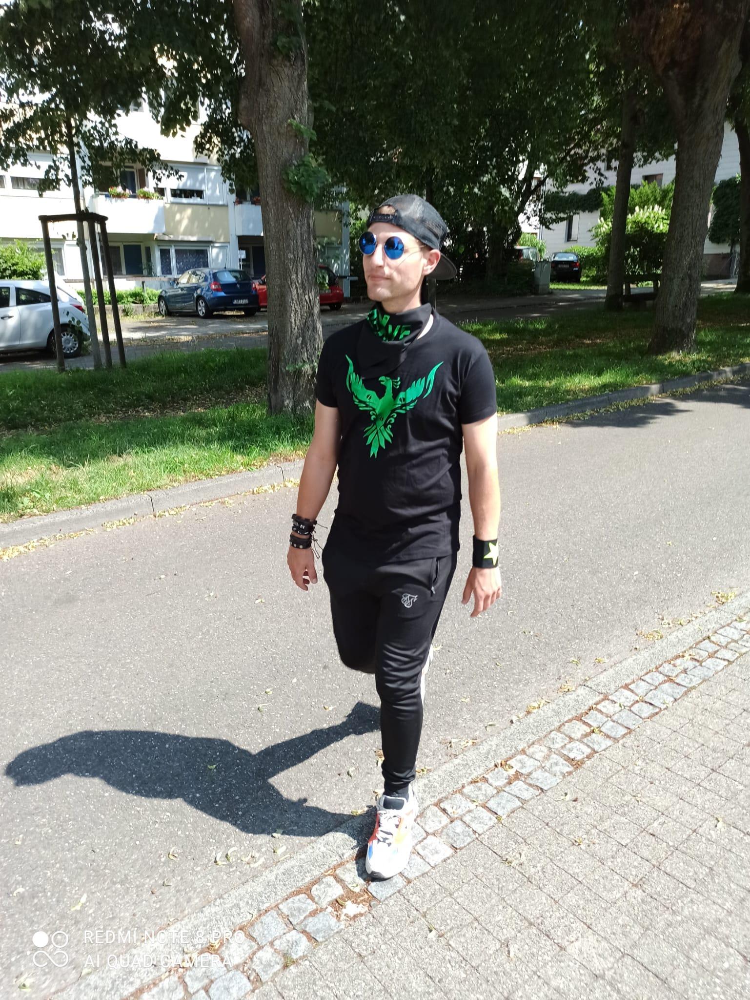 "T-Shirt von SONICX Model "" Tekno Animals Phönix""  Techno Wear Style in Space Silver Green"