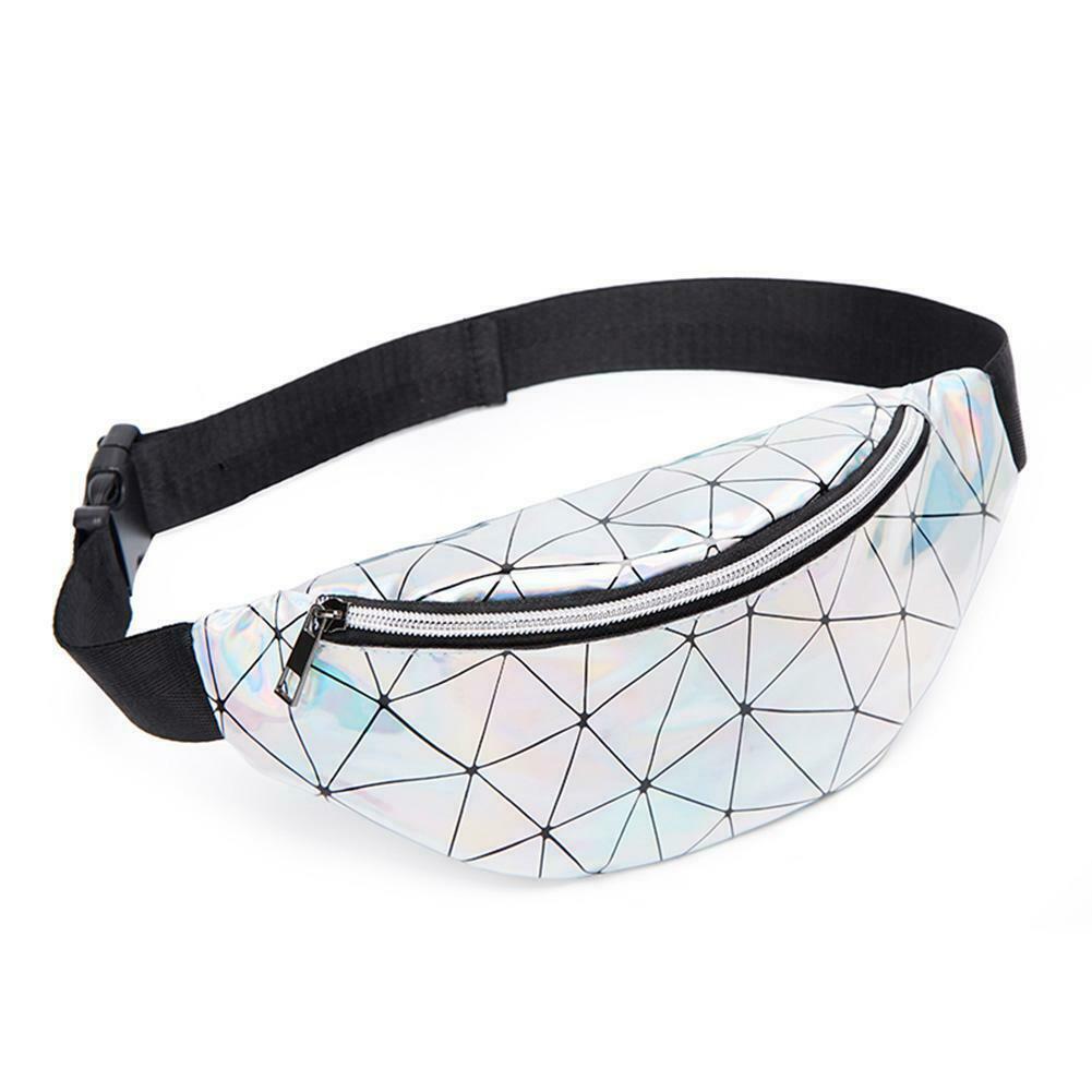 """Schulter-Bauchtasche von INCERUN Model """"  Geometric Holographic Silver""""  im Techno Wear Bag Style"""