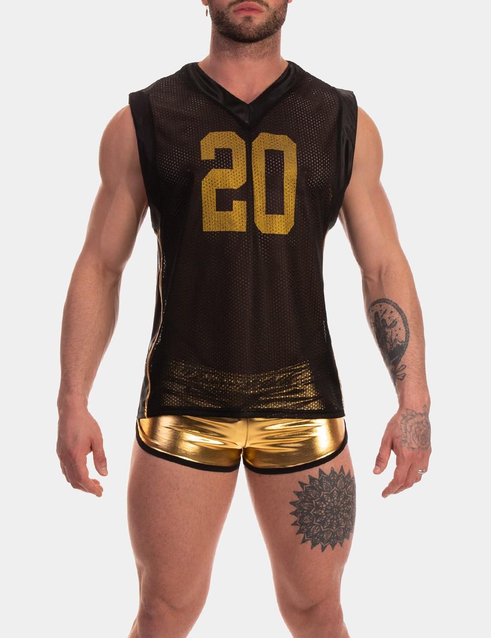 """Tank Top von Barcode Berlin Model """" Adrik """"  in Schwarz mit Gold im Gaywear Style"""