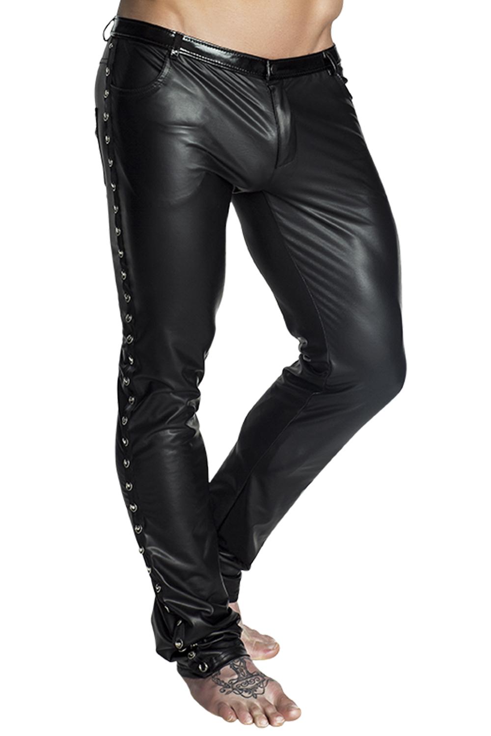 Schwarze lange Hose von Noir Handmade in Schwarz  (Wetlook-Material)