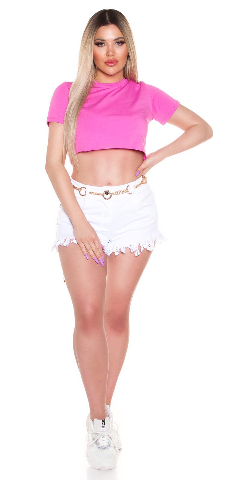 Sexy Basic Crop T-Shirt  von INstylefashion in Pink
