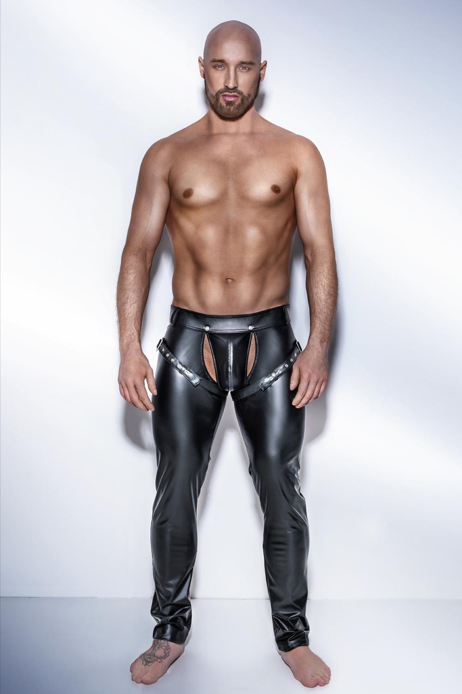 schwarze Powerwetlook Hose mit verstellbaren Bändern von Noir Handmade in Schwarz
