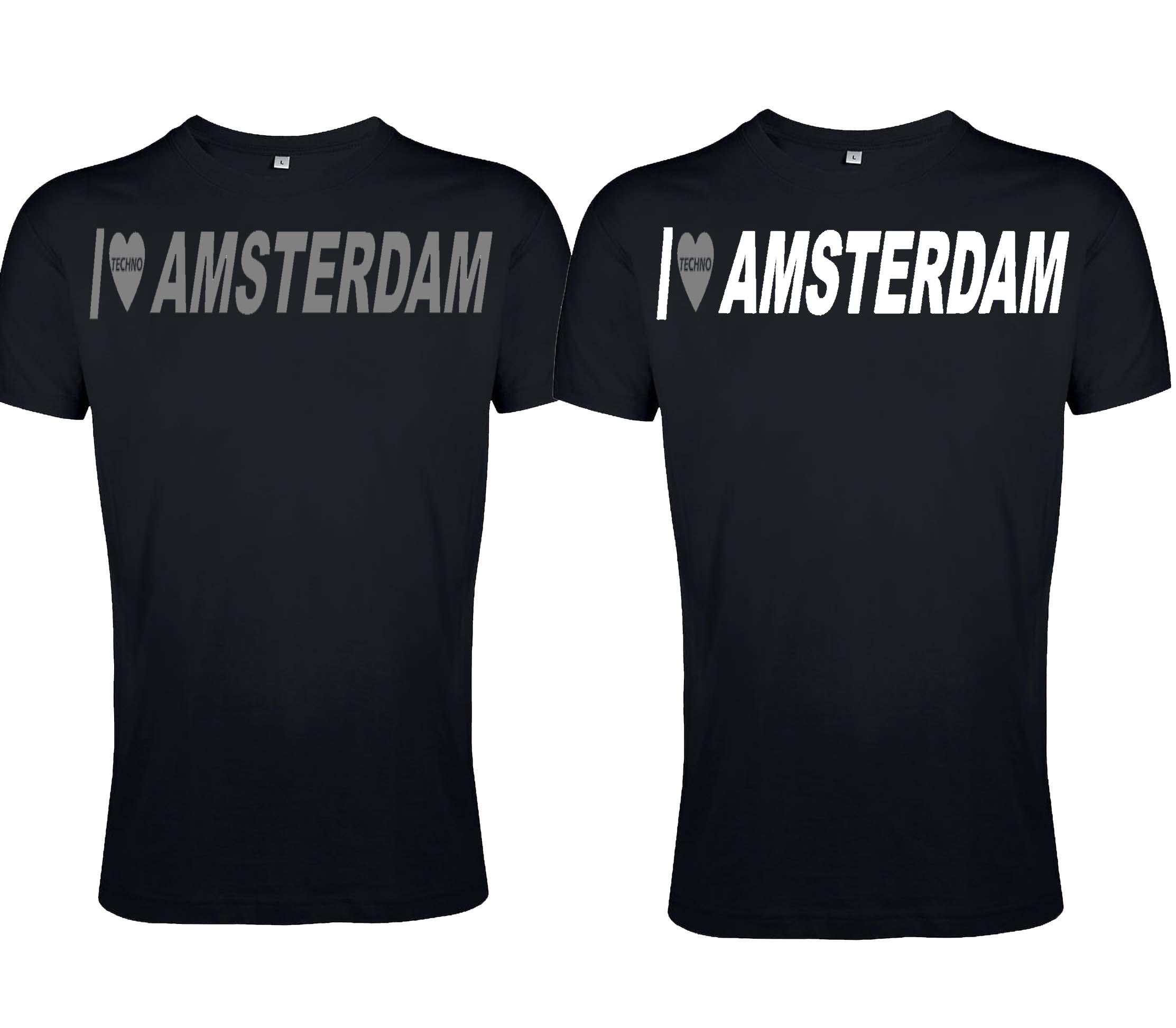 """T-Shirt von SONICX Model """" """"I LOVE TECHNO x CITY Amsterdam """""""