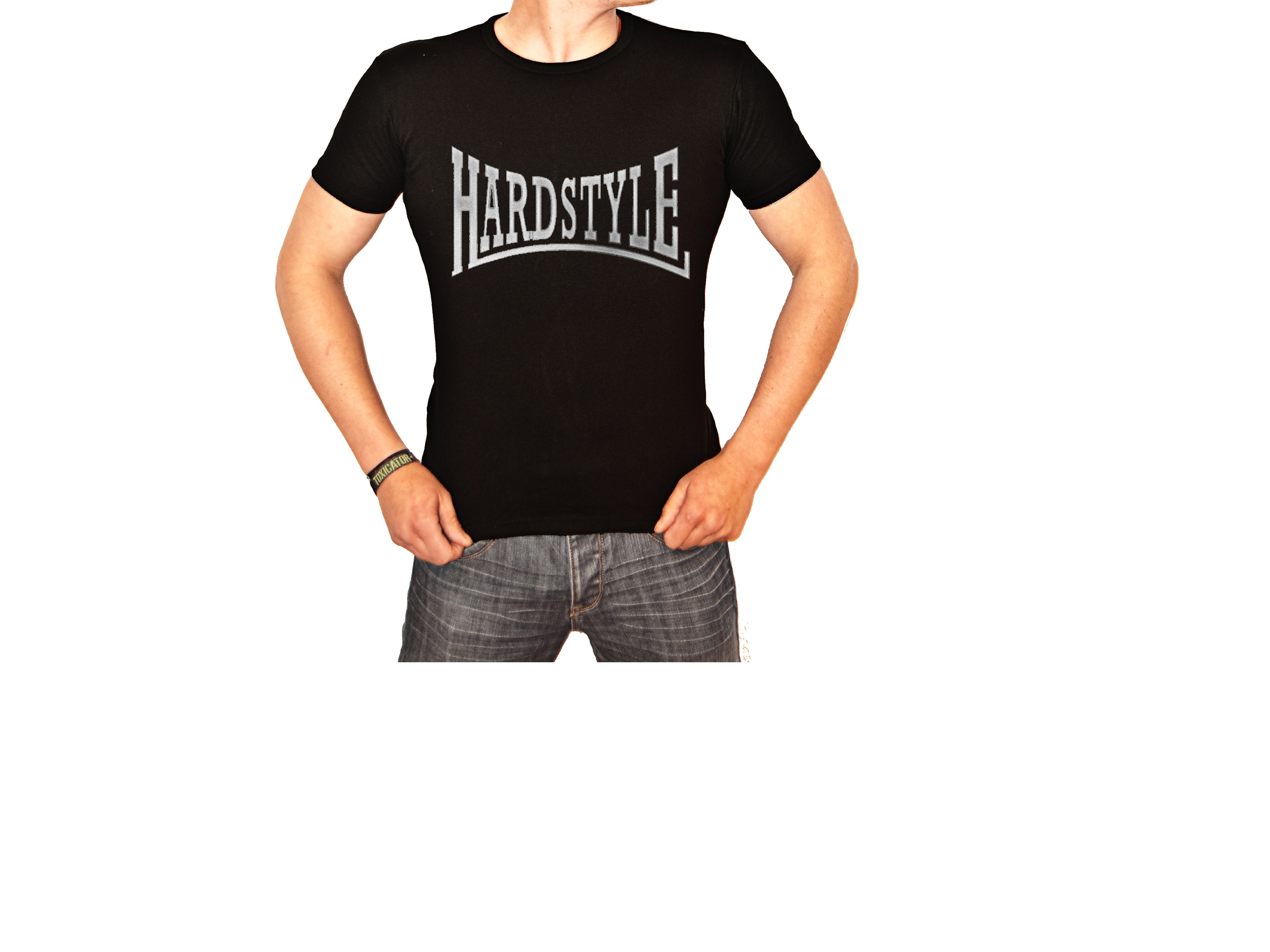 """T-Shirt von SONICX Model """" Hardstyle CLASSIC"""" in Schwarz mit Weiss oder Reflex"""