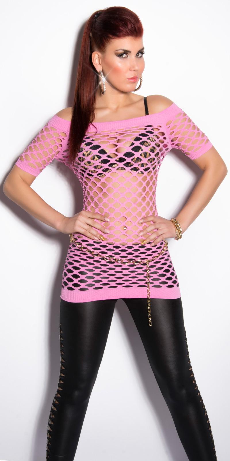 Sexy Netz-Kurzarmshirt von INstylefashion in ROSA