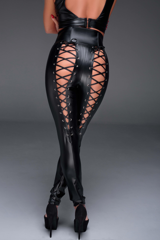 schwarze lange Hose mit Schnürung F148 von Noir Handmade Muse Collection